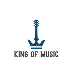 king crown and guitar music logo design vector image