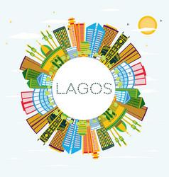 lagos nigeria city skyline with color buildings vector image