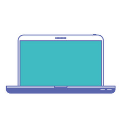 laptop computer front view in blue and purple vector image