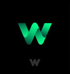 letter w monogram consist green ribbon vector image
