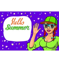 Lettering Hello summer greeting card girl waving vector