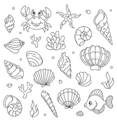 Lineart cartoon comic doodle sea animals vector