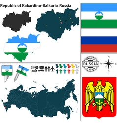 Map of Republic of Kabardino Balkaria vector image