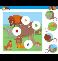 Match pieces puzzle with funny wild mammals vector