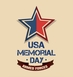 Memorial day card armed forces vector