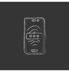 Mobile phone scanning fingerprint Drawn in chalk vector