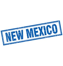 New mexico blue square grunge stamp on white vector