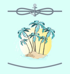 palms and rope with anchor vector image