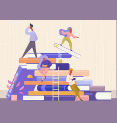 People with book concept learning education and vector