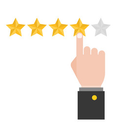 Pointing hand and five review stars vector
