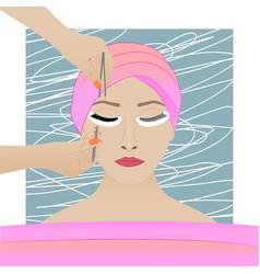 procedure of eyelash extension in action vector image