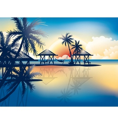 Relaxing in hammock on a tropical beach vector