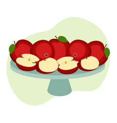 Ripe apples on tray whole fruit and halves vector
