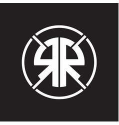 rr logo monogram with four part circle slash vector image