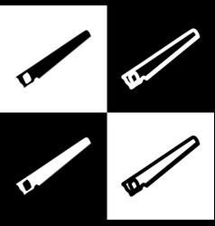 saw simple sign black and white icons and vector image