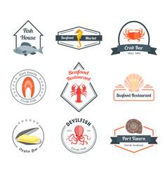 seafood badges or labels set vector image vector image