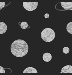 seamless pattern with monochrome planets and other vector image