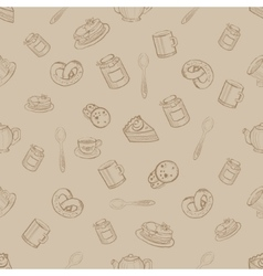 Seamless Pattern with Sweets and Desserts vector image