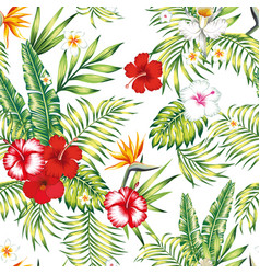 Seamless realistic botanical pattern white vector