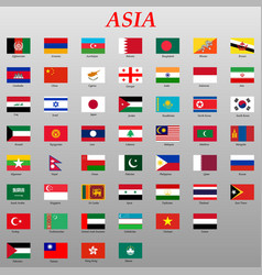 Set all flags asia vector