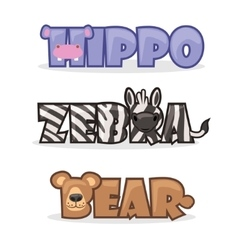 set cute cartoon wild animals vector image