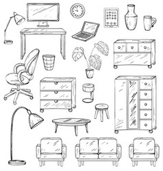 Set furniture for office house and for the vector
