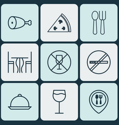 Set of 9 food icons includes cutlery dining room vector