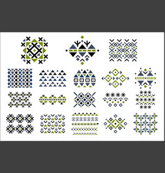 set of colored seamless ornaments ethnic vector image