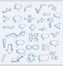 set of hand drawn elements mathematics and vector image
