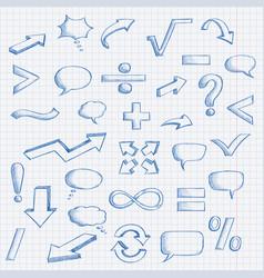 Set of hand drawn elements mathematics vector