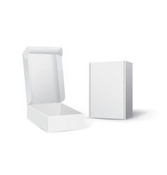 set of small white cardboard boxes mockups vector image