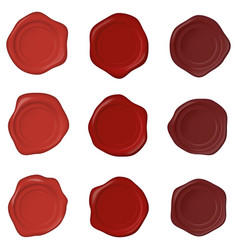 set realistic wax seal stamps on a white vector image