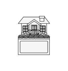 silhouette small house design with label vector image