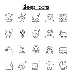sleep icons set in thin line style vector image