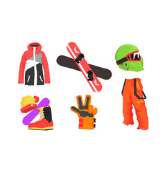 snowboarding equipment set winter sport active vector image