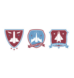 spaceship badges vector image