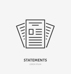 Statement flat line icon paper documents sign vector