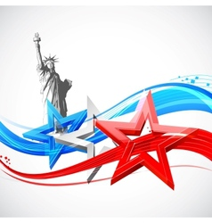 Statue liberty with american flag vector