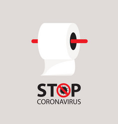 Stop coronavirus banner with toilet paper roll vector