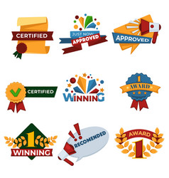 success and victory banners set certified seals vector image