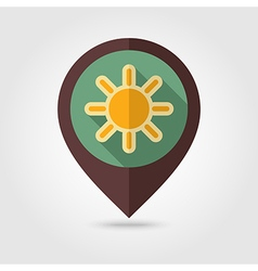 Sun retro flat pin map icon Meteorology Weather vector