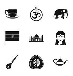 Tourism in india icon set simple style vector