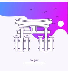 Travel tori gate poster template purple creative vector