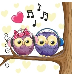 Two owls with headphones vector