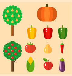 Vegetables food cellulose set peppers vector