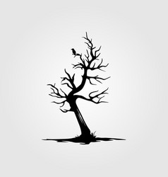 Vintage dead tree with alone bird silhouette vector