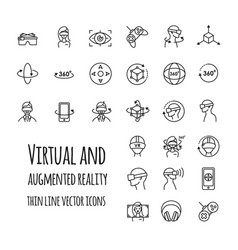 virtual and augmented reality icons set vector image