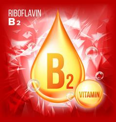 vitamin b2 riboflavin vitamin gold oil vector image