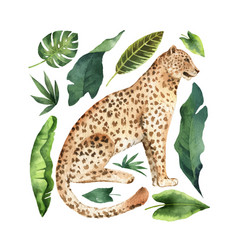 Watercolor card with leopard and green vector