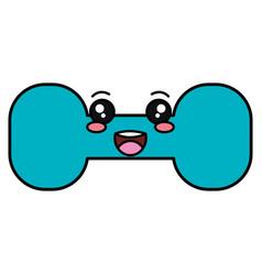 weight lifting gym kawaii character vector image